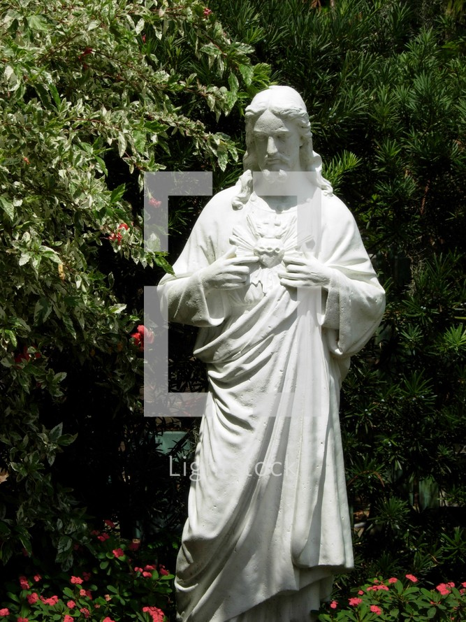 Statue of Jesus Christ in a garden