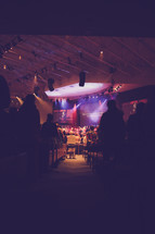 spot lights, audience, stage lights, worship service, musicians, on stage, church, contemporary worship service