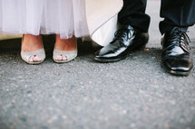 shoes of a bride and groom