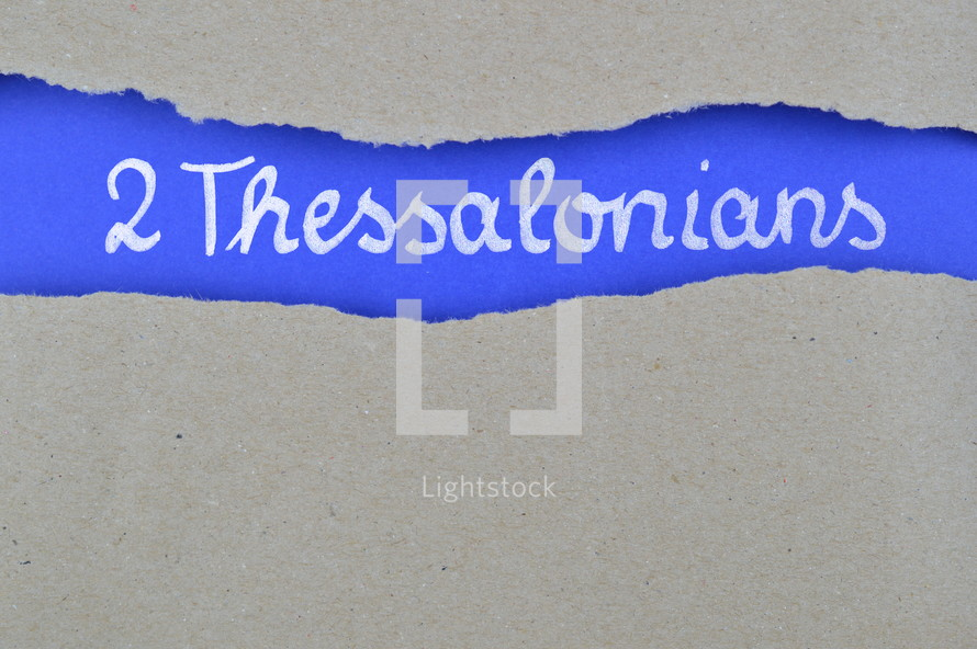 title 2 Thessalonians exposed under gray torn paper