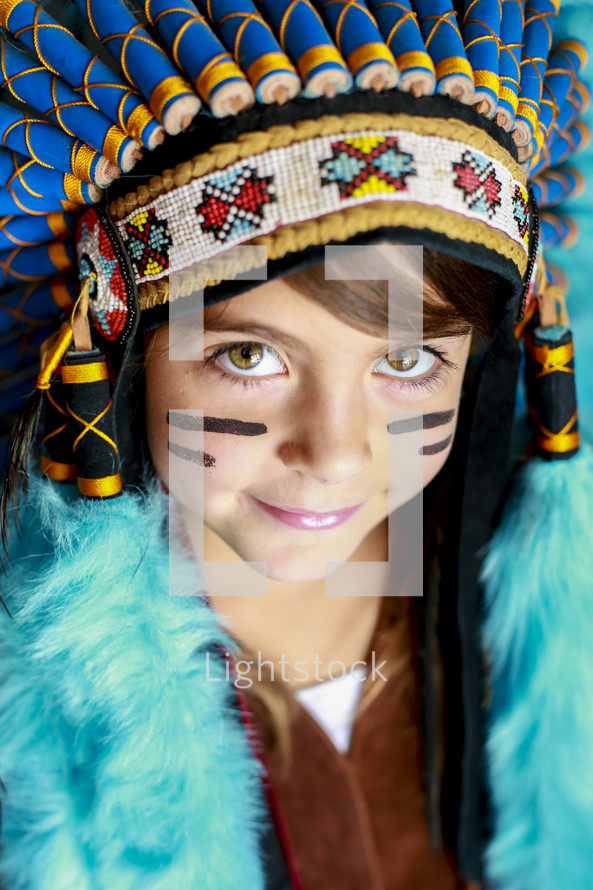 girl in native american head dress