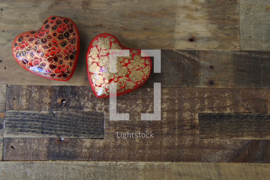hearts on wood