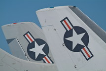 Folded wings of a American jet fighters on an aircraft carrier