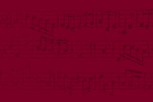 sheet music in red