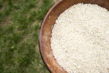 bowl of white rice grains