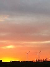 sunset over a ball park