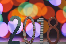 year 2018 and bokeh lights
