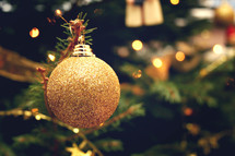 gold glitter Christmas ornament ball