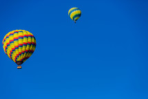 Hot air balloons two blue sky
