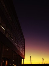 Sunset behind an office building