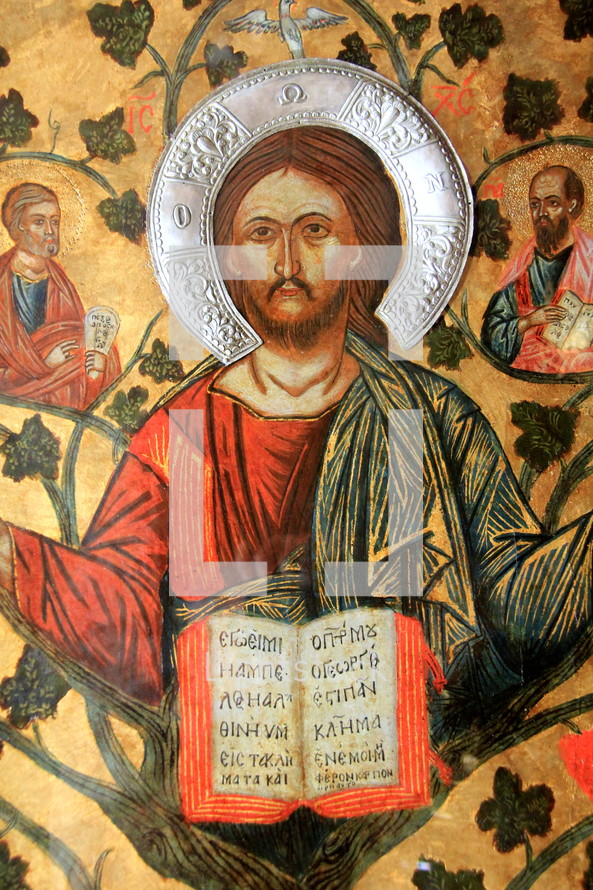 painting of Jesus with the Bible in Greek