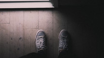 looking down at sneakers
