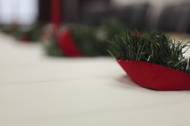 Christmas decorations on table