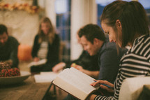 young adults gathered at a Bible study
