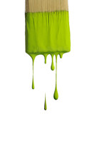 lime green paint dripping from a paint brush