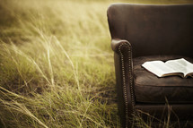 A Bible rests on a leather chair in a grassy field.
