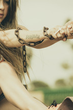shackled woman