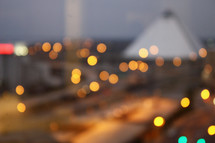 City lights. Bokeh. Blurry city background. City background.