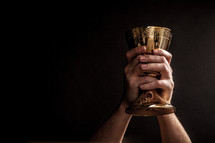 Hands holding up a communion goblet.