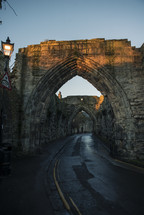 stone arches and tunneling road