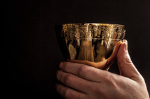 Hands holding a golden wine goblet.