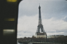 Eiffel Tower viewed through a window