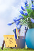 thanks note on a desk