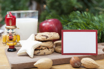 Christmas Cookies with Milk and Blank Card