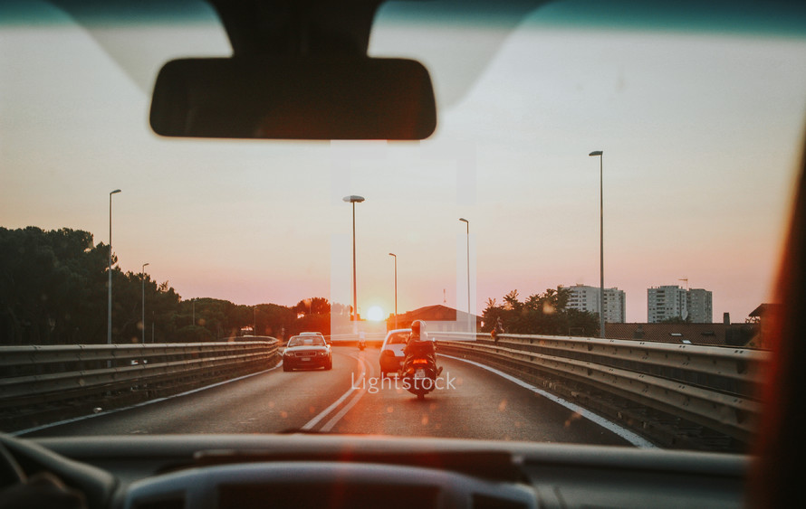 dashboard view while driving