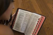 girl reading bible