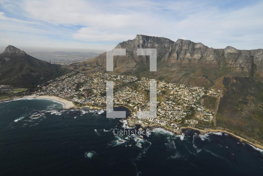 aerial view of coastal city