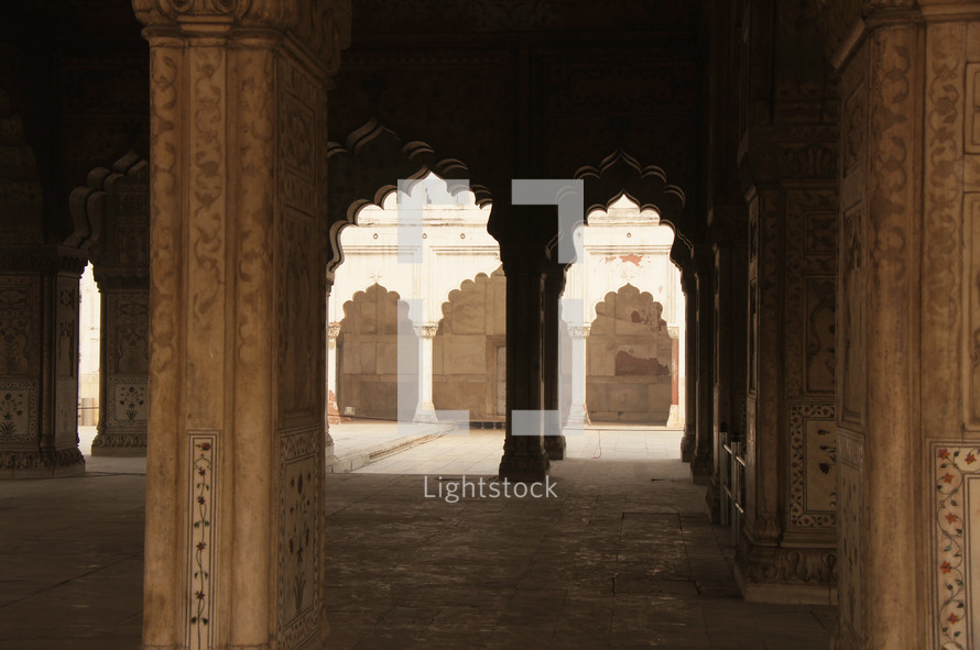 Decorative inlaid archways in an Indian palace