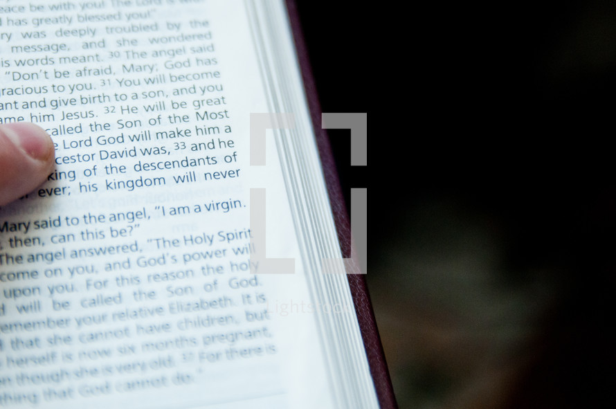 finger pointing to the word Lord in a Bible