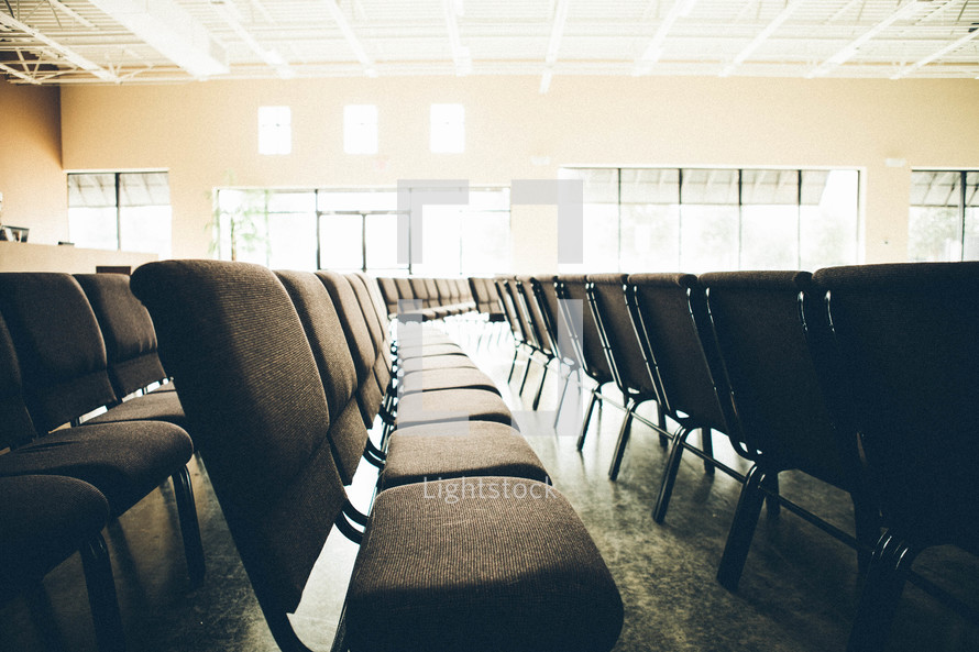 Rows of chairs in sanctuary