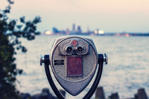 view finder scope facing a city