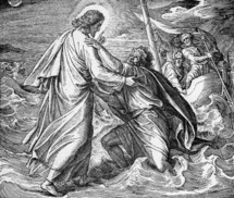 Jesus saves Peter, Matthew 14: 30-31