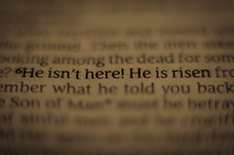 He isn't here! He is risen