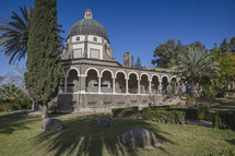 Ancient chapel at the Mount of Beatitudes in Galilee, Israel. The Mount of Beatitudes refers to a hill in northern Israel where Jesus is believed to have delivered the Sermon on the Mount