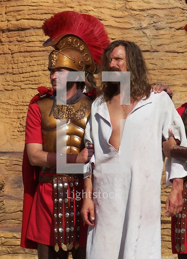 The Arrest of Jesus - Jesus is arrested by Roman guards and taken before the Roman governor to be questioned then whipped before ultimately being taken to the cross to be crucified.