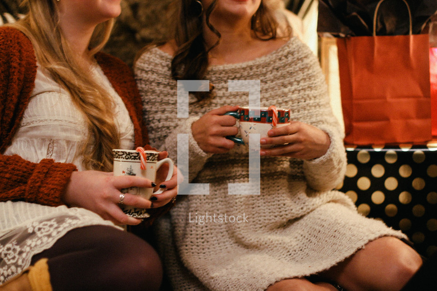 friends talking over hot cocoa