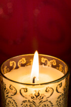 Lit candle.