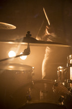 cymbals and a drum set
