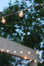 glowing bulbs on a string of lights outdoors