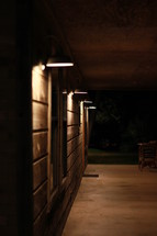 outdoor lamps on a front porch