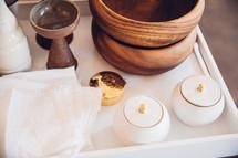 Sacramentals on a tray