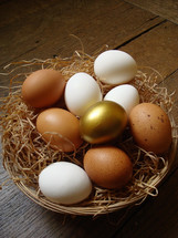 one golden egg in a basket of white and brown eggs, sitting on a wood floor or table