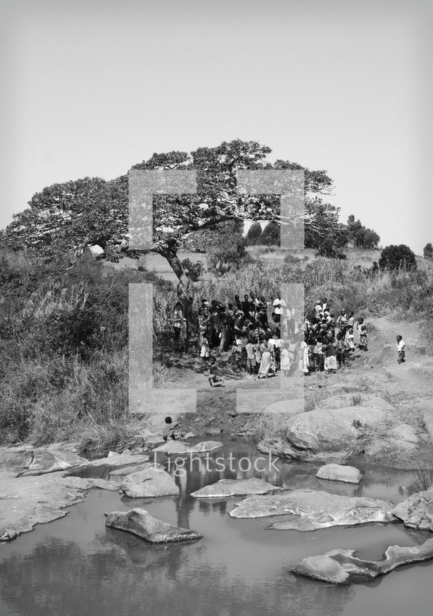 people gathered for a worship service under a tree