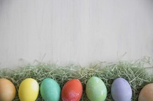 border of dyed Easter eggs