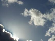 sun peeking through a cloud
