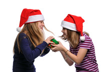sisters fighting over a Christmas present